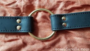Bound Noir Nubuck Leather Collar close up of o-ring on copper coloured background