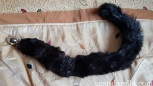 Furry Fantasy Black Panther Tail Butt Plug Review, tail laid out flat