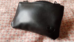 Lovehoney Desire Studded Clitoral Vibrator Review, image showing the black faux leather storage bag with Lovehoney heart logo